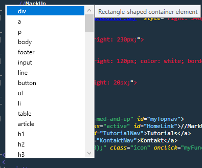 code completion MarkUp Editor